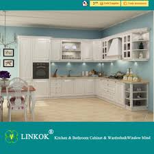 Kitchen Cabinets Lowest Price 2017 Linkok Furniture Long Lifetime Wooden Color Pvc Membrane