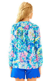 Swell Lilly Pulitzer by Lilly Pulitzer Elsa Silk Top Dive In In Blue Lyst