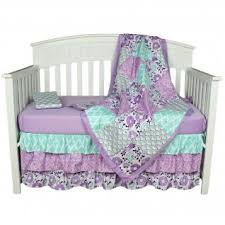 zoe purple floral baby crib bedding by the peanut shell