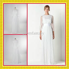 2016 simple greek goddess white chiffon jewel neck long