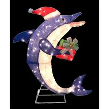 Home Depot Lawn Decorations Home Accents Holiday 36 In Pre Lit Dolphin With Gift Ty467 1214