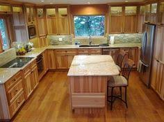 hickory kitchen island i like the side wall by the fridge area possibly even it a