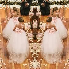 lovely ivory pink flower dresses big bow back long girls kids