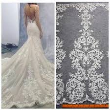 new off white large pattener beaded wedding dress lace fabric 52