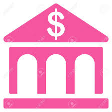 pink flat color bank icon this flat glyph symbol uses pink color rounded angles