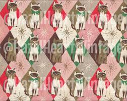cat wrapping paper vintage cat wrapping paper siamese christmas harlequin