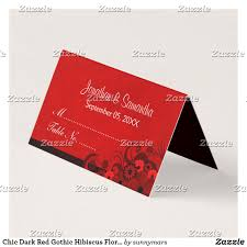 folded table place cards chic dark red gothic hibiscus floral folded table place card