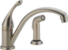 satin nickel kitchen faucets delta no touch kitchen faucet combined nickel vs chrome also