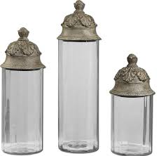 acorn glass cylinder canisters 3 piece set traditional