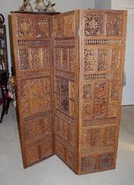 antique hand carved wooden 3 panel screen room divider ebay