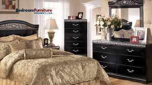 ashley constellations 4 piece headboard bedroom set in black youtube