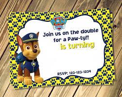 Sample Of Birthday Invitation Card For Kids Free Chase Paw Patrol Birthday Invites Template Dolanpedia