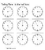 free telling time worksheets clock face time to half hour