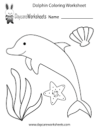 preschoolers can color in a dolphin starfish seashell and an