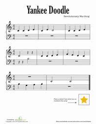 Yankee Doodle Sheet Music Worksheet Education Com Yankee Doodle Coloring Page 2