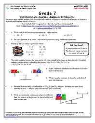 grade 7 patterning and algebra algebraic expressions 6th 8th