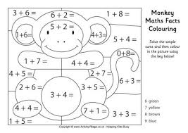 monkey maths facts colouring