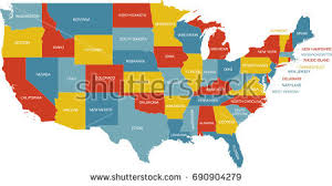 united states map with labels of states and capitals united states map state labels stock vector 690904279