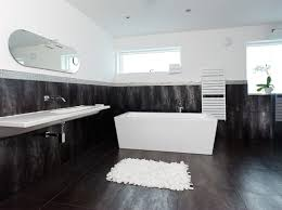 bathroom paintdeas with black and white tile cream decorating