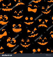 orange black halloween background seamless pattern orange halloween pumpkins carved stock vector
