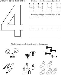 number 4 worksheets for children activity shelter