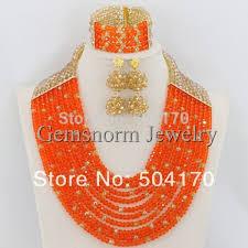 wedding beaded necklace images 2017 latest new orange and gold nigerian wedding beads jewelry set jpg