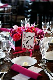 square black and pink centerpiece ribbon wrapped diy table number