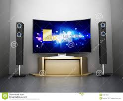 d home theater system ultra hd curved tv with home theater system stock illustration