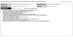 Driver Resume Samples by Furniture Mover Driver Resume Sample
