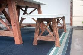 concrete top outdoor table x base outdoor concrete bench build it craft it love it