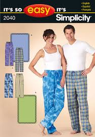 pattern pajama pants sewing project simplicty its so easy 2040 misses and mens pajama