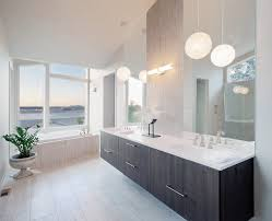 Modern Vessel Sink Bathroom Pendant Lighting Contemporary With Accent Wall Stone