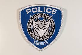 decepticon police shield getting stitched