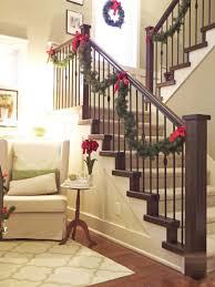 Christmas Lights For Stair Banisters Staircase Xmas Decorating Ideas Small Spaces Living Room Ideas