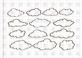 sketch of clouds on notebook sheet background vector clipart image