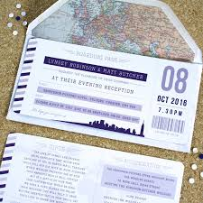 Boarding Pass Wedding Invitation Card Purple Boarding Pass Travel Wedding Invitations By Rodo Creative