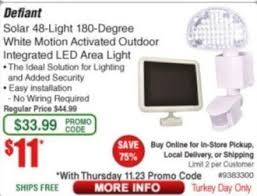 Defiant Solar Motion Security Light Frys Black Friday Defiant Solar 48 Light 180 Degree White Motion
