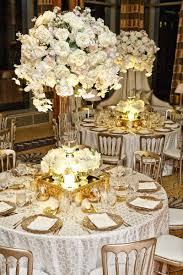 gold centerpieces reception décor photos tablescape with white flower centerpieces