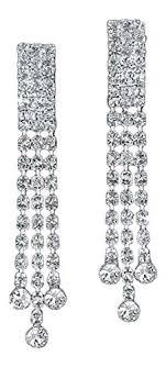 clip on dangle earrings clip on clip on rhinestone dangle earrings 3 strand