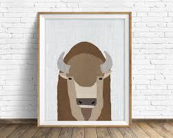Woodland Animal Nursery Decor by Buffalo Art Print Large Art Mid Century Modern Wall Art Art