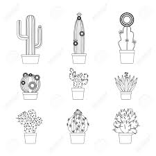 cactus thin line art isolated icon set for coloring page design