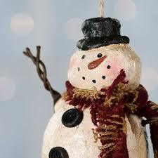 primitive paper clay snowman ornament ornaments