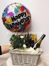 Wine And Chocolate Gift Baskets White Wine Chocolates Rose Plant And Anniversary Balloon Gift