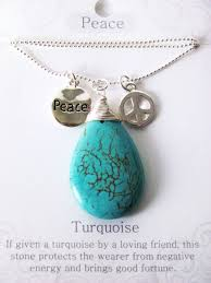 turquoise stone pendant necklace images Peace stone genuine turquoise tear drop pendant necklace w charms JPG