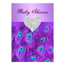 peacock baby shower purple peacock baby shower invitations announcements zazzle