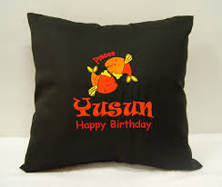 happy birthday pisces personalized cushion with embroidery by
