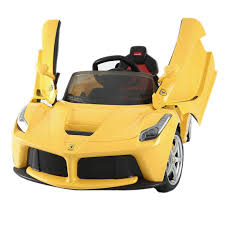 ferrari yellow car licensed ferrari la 12v kids battery powered ride on yellow