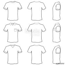 t shirt template set front back and side view