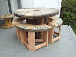 outdoor tables made out of wooden wire spools 5 wire spool i made into a bar height patio table with 4 stools