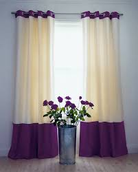Textured Cotton Tie Top Drape by Curtains With Contrasting Top And Bottom Borders Curtains